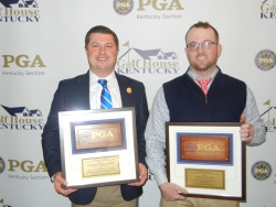 l-r: Robert Costello and Corey Stith display their Kentucky Section PGA awards