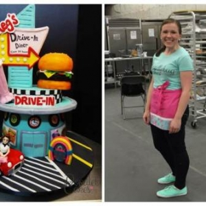 Meghan Smith (right) and one of her custom Doodlebug Cakes (left)