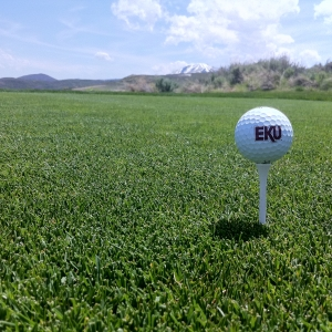EKU golf ball on tee