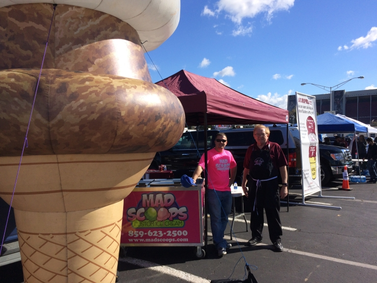 CBT Dean Tom Erekson (right) with Mad Scoops manager & the giant inflatable cone