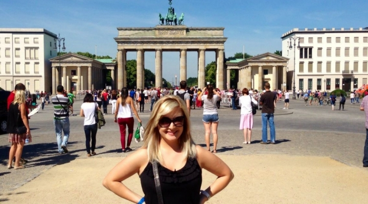 Stephanie Terry in front of the Brandenburg Gate in Berlin
