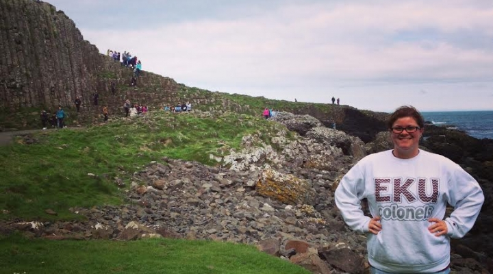 Ashley Owens at the Giant's Causeway - Ireland to Scotland