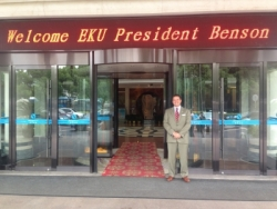 President Benson receives a warm welcome in China.