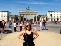 In front of the Brandenburg Gate in Berlin