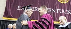 Roy Davidson (l) with EKU President Mike Benson
