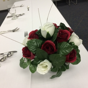 Flower arrangement at the CBT retired faculty luncheon