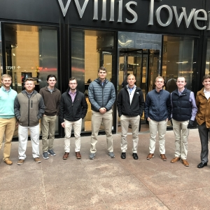 Aviation students in front of Willis Tower