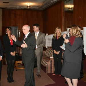 Distinguished alumni gather for photos in Walnut Hall