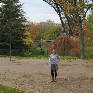 Kimberly Smith at the base of the Eiffel Tower