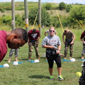 Cadets at the ropes challenge course
