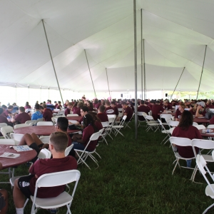 New Students Under Big E Welcome Tent
