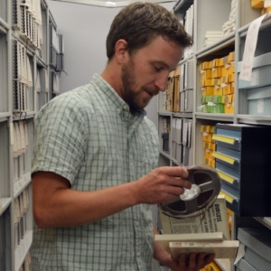 Student working in history archives