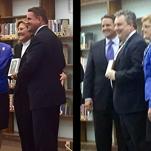 Left: Robles with Vice and Benson. Right: Fore with Benson and Vice