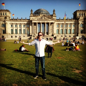 Dustin in front of the Bundestag in Berlin.