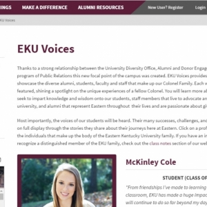 EKU Voices article displayed on the web