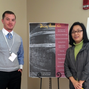 Student Corey Oney with Assistant Professor of Management Qian Xiao